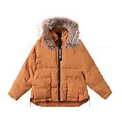 レディース お出かけ カジュアル/普段着 冬 コート,シンプル フード付き ソリッド ショート コットン 長袖