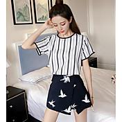 レディース カジュアル/普段着 夏 Tシャツ(21) スカート スーツ,シンプル ラウンドネック ストライプ 半袖