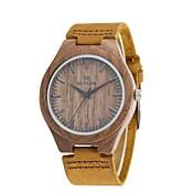Hombre Reloj de Moda Reloj Madera Japonés Cuarzo de madera Cuero Auténtico Banda Encanto Vintage Casual Elegant Marrón
