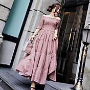 Mujer Diario Noche Casual Chic de Calle Sofisticado Vaina Corte Swing Midi Vestido,Frunce Estampado Escote Barco Media Manga Otoño