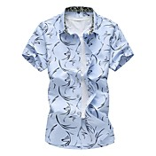 Masculino Camisa Social Casual Tamanhos Grandes Simples Todas as Estações,Floral Algodão Poliéster Decote Quadrado Manga Curta Média