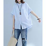 Mujer Simple Noche Camisa,Cuello Camisero A Rayas Manga Corta Algodón