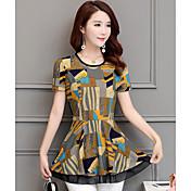 Mujer Simple Casual/Diario Camiseta,Escote Redondo Geométrico Manga Corta Poliéster