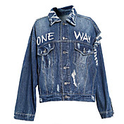 レディース お出かけ 秋 デニムジャケット,ストリートファッション シャツカラー フラワープリント レギュラー その他 長袖