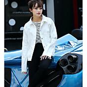 レディース カジュアル/普段着 秋 ジャケット,シンプル シャツカラー ソリッド レギュラー コットン 長袖