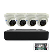 4ch 1080n dvr kits 4pcs cúpula cctv cámara de seguridad de la cámara interior día de noche ir-cut 3.6mm