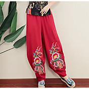 Mujer Sencillo Tiro Medio Microelástico Perneras anchas Pantalones,Delgado Estampado