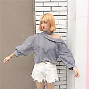 Mujer Chic de Calle Noche Verano Camisa,Hombros Caídos A Cuadros Manga 3/4 Algodón Opaco