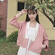 レディース カジュアル/普段着 秋 ジャケット,シンプル Vネック プリント ショート その他 長袖