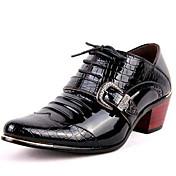 メンズ 靴 エナメル 秋 冬 フォーマルシューズ オックスフォードシューズ 用途 カジュアル パーティー ブラック ブルー