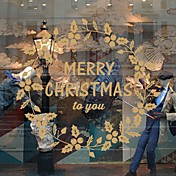 クリスマス 文字 フローラル柄 ウォールステッカー プレーン・ウォールステッカー 飾りウォールステッカー,ビニール 材料 ホームデコレーション ウォールステッカー・壁用シール
