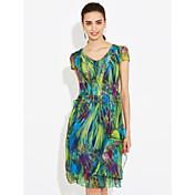 Vestido de manga corta del v-cuello de la muestra el nuevo tamaño grande delgado 2017 del verano adelgaza un vestido imprimió el vestido