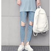 Mujer Casual Tiro Medio Microelástico Delgado Vaqueros Pantalones,Un Color Primavera