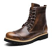 Hombre Zapatos Cuero real Cuero Invierno Botas de nieve Botas de Moda Botas de Moto Botas hasta el Tobillo Forro de pelusa Botas