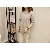 Mujer Simple Bonito Sofisticado Casual/Diario Trabajo Otoño Invierno Camiseta,Escote Redondo Un Color Geométrico Manga Larga Algodón