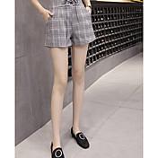 Mujer Cosecha Tiro Alto Eslático Perneras anchas Shorts Pantalones,Corte Ancho Perneras anchas A Cuadros