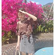 Mujer Bonito Casual/Diario Camisa,Escote Redondo Floral Media Manga Algodón