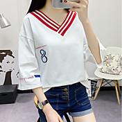 Mujer Simple Casual/Diario Camiseta,Escote en Pico Estampado Manga 3/4 Algodón