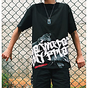 Hombre Simple Activo Deportes Noche Camiseta,Escote Redondo Un Color Letra Manga Corta Nailon