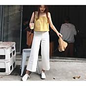 Mujer Casual Tiro Medio Rígido Perneras anchas Chinos Pantalones,Un Color Otoño