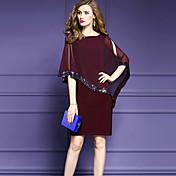 Mujer Gasa Vestido Noche Tallas Grandes Sofisticado,Color sólido Escote Redondo Hasta la Rodilla Media Manga Nailon Verano Media cintura