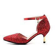 レディース 靴 レザーレット 春 秋 コンフォートシューズ ヒール スティレットヒール ポインテッドトゥ ベックル 用途 結婚式 ドレスシューズ ゴールド シルバー レッド
