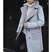 レディース カジュアル/普段着 秋 冬 コート,シンプル シャツカラー ソリッド ロング ラムファー 長袖