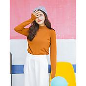 Mujer Regular Pullover Casual/Diario Un Color Escote Chino Manga Larga Algodón Otoño Invierno Fino Medio Microelástico