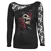 Mujer Chic de Calle Casual/Diario Camiseta,Escote Redondo Estampado Manga Larga Algodón