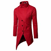 男性用 日常 祝日 冬 秋 プラスサイズ ロング コート, シンプル ヴィンテージ カジュアル スタンド ソリッド ポリエステル