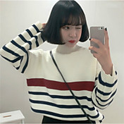 Mujer Manga Larga Pullover - A Rayas Cuello Alto