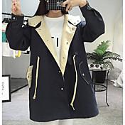 レディース カジュアル/普段着 秋 トレンチコート,シンプル フード付き ソリッド ロング ポリエステル 長袖