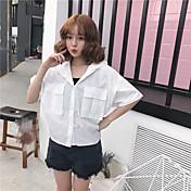 Mujer Simple Casual/Diario Camisa,Con Capucha Un Color Manga Corta Algodón