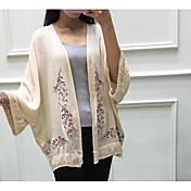 レディース お出かけ 夏 シャツ,シンプル Vネック ソリッド 刺繍 コットン 長袖