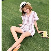 Mujer Simple Casual/Diario Verano Camisas Pantalón Trajes,Escote Redondo A Rayas Manga Corta