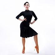 ラテンダンス 女性用 ダンスパフォーマンス ナイロン レース 3/4スリーブ ドレス