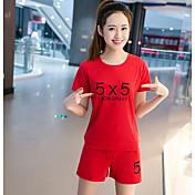 Mujer Simple Verano T-Shirt Pantalón Trajes,Escote Redondo Un Color Manga Corta