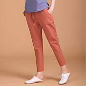 Mujer Cosecha Sencillo Tiro Medio Inelástica Chinos Pantalones,Delgado Un Color