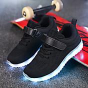 Chico Zapatos Red Tejido Invierno Otoño Confort Zapatos con luz Zapatillas de deporte Cinta Adhesiva LED para Casual Negro Azul Oscuro