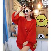 Mujer Regular Pullover Casual/Diario Simple,Un Color Escote Redondo Manga Larga Piel Sintética Otoño Medio Microelástico