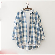 Mujer Simple Noche Camisa,Escote Chino Un Color A Rayas Manga Larga Algodón
