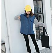 Mujer Simple Noche Camisa,Cuello Camisero Bloques Manga Larga Algodón