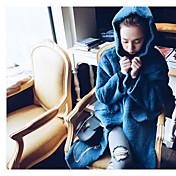 Mujer Simple Noche Trabajo Otoño Invierno Abrigo,Con Capucha Un Color Manga Larga Otro Largo