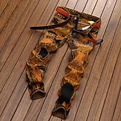 Hombre Casual Tiro Medio Microelástico Chinos Vaqueros Pantalones,Un Color Lino Primavera Verano Otoño