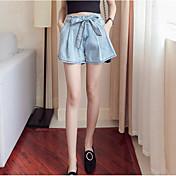 Mujer Casual Tiro Medio Microelástico Delgado Perneras anchas Vaqueros Shorts Pantalones,Un Color Verano