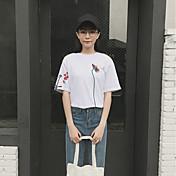 レディース カジュアル/普段着 夏 Tシャツ,シンプル ラウンドネック ソリッド コットン ハーフスリーブ 薄手