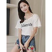 Mujer Simple Bonito Deportes Casual/Diario Camiseta,Escote en Pico Letra Manga Corta Algodón