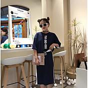レディース カジュアル/普段着 春 夏 秋 Tシャツ(21) スカート スーツ,シンプル ラウンドネック 文字&番号 七分袖