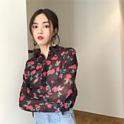 レディース カジュアル/普段着 シャツ,ストリートファッション シャツカラー フラワー ポリエステル 長袖