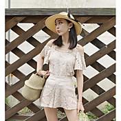 Mujer Simple Casual/Diario Verano Blusa Pantalón Trajes,Con Tirantes Un Color Manga Corta Microelástico